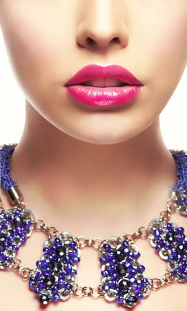 lipstick kiss: Close-up Portrait of Young Woman with Bright Lipstick