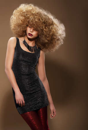 grey hair female: Vogue Style. Stylish Woman with Extravagant Hairstyle