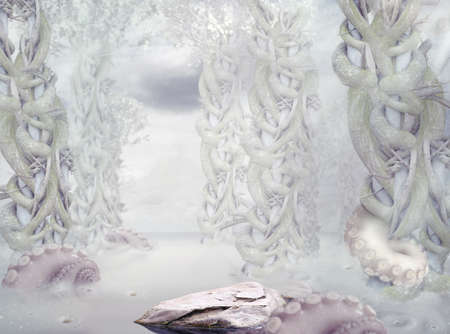 surrealistic: Mystery. Surrealistic Mysterious White Forest