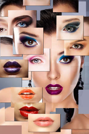 maquillaje de ojos: Arte digital. Conjunto de caras de las mujeres con maquillaje colorido Foto de archivo