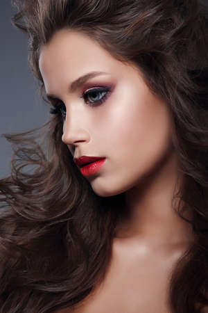 beauty and health: Glamour portrait of beautiful woman model with makeup, profile. Studio portrait. Stock Photo
