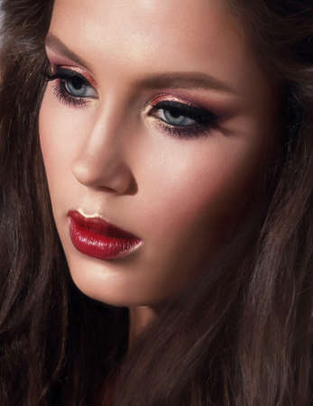 sensual girl: Beauty portrait of a girl. Makeup. Bright, complex.