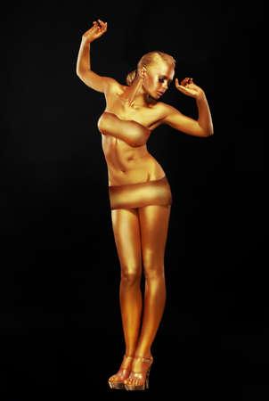 bathing costume: Girl with golden skin. Full-length. Stock Photo