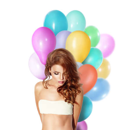 sexy young woman: Beauty fashion model girl with colorful balloons isolated.