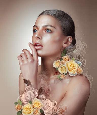 Portrait of a woman. Flowers. Concept. photo