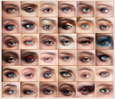 makeups: Collage of 36 closeup eyes images of women, with makeups. Eyebrow. Stock Photo