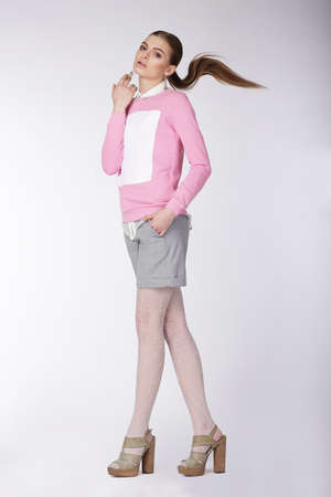 stockings woman: Portrait of a female model in full length. Fashion style.