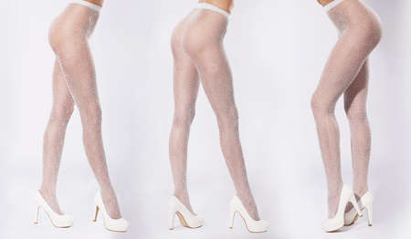 fine legs: Three pairs of legs. Legs close-up in tights and white shoes with heels. Stock Photo