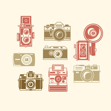 2d wallpaper: Classic photo camera icons vector illustration