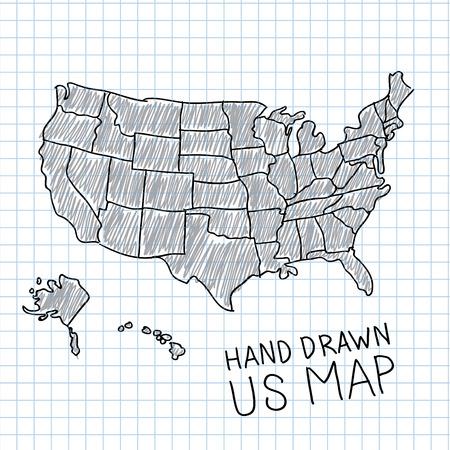 Dibujado a mano ilustración vectorial mapa de los EE.UU.