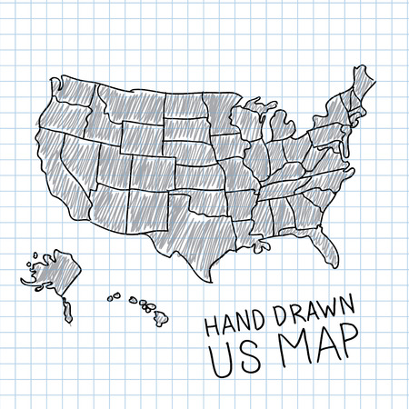 world map blue: Hand drawn US map vector illustration