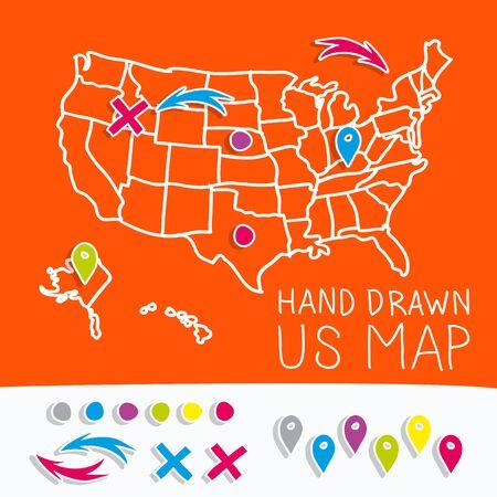 map pins: Hand drawn US map whith map pins vector illustration