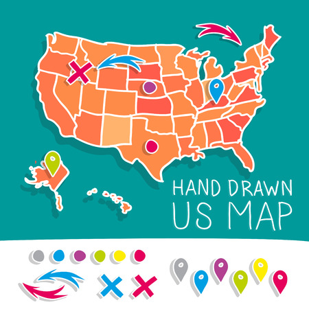 2d map: Hand drawn US map vector illustration