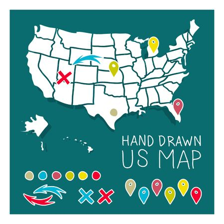 2d wallpaper: Hand drawn US map travel poster vector illustration Illustration