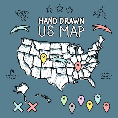 2d map: Hand drawn US map on chalkboard vector illustration