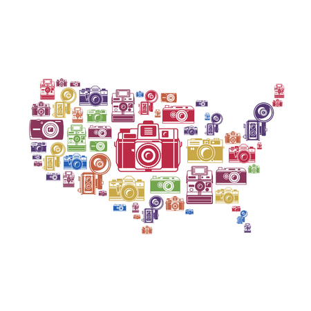 2d map: Retro photo cameras in US shape vector illustration