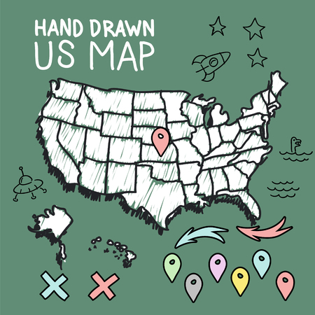 map pins: Hand drawn US map on chalkboard vector illustration