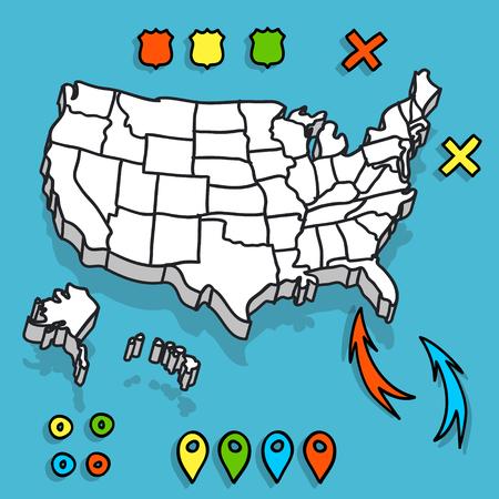 手の描かれた米国地図の whith ピン ベクトル イラスト  イラスト・ベクター素材