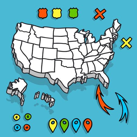 united state: Hand drawn US map whith map pins vector illustration