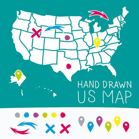 2d map: Hand drawn US map whith map pins vector illustration
