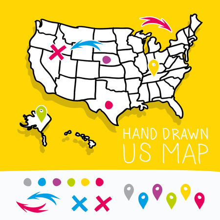 2d map: Yellow hand drawn US map whith map pins vector illustration