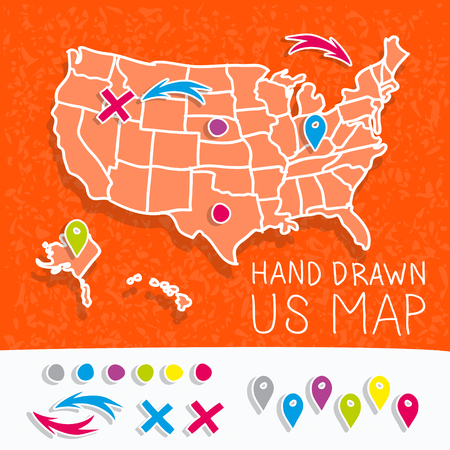 states: Hand drawn US map whith map pins vector illustration