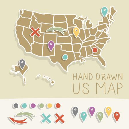 us map: Vintage US map illustration