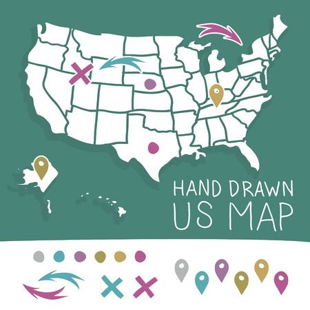 us map: Hand drawn US map whith map pins vector illustration