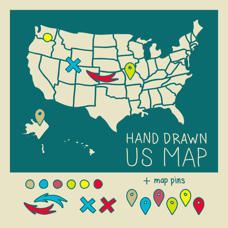2d map: Hand drawn US map travel poster vector illustration Illustration