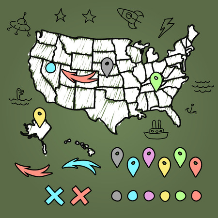us map: Hand drawn US map on chalkboard vector illustration