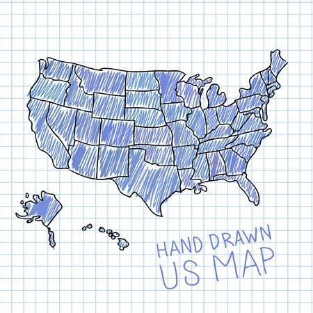 spojené státy americké: Ručně malovaná mapa USA vektorové ilustrace Ilustrace