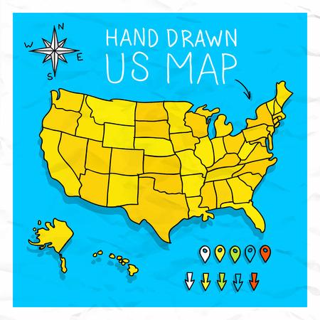 mapa politico: Dibujado a mano EE.UU. mapa un poco con la ilustraci�n pins del mapa vectorial
