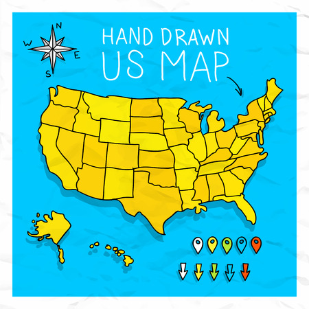 world map blue: Hand drawn US map whith map pins vector illustration