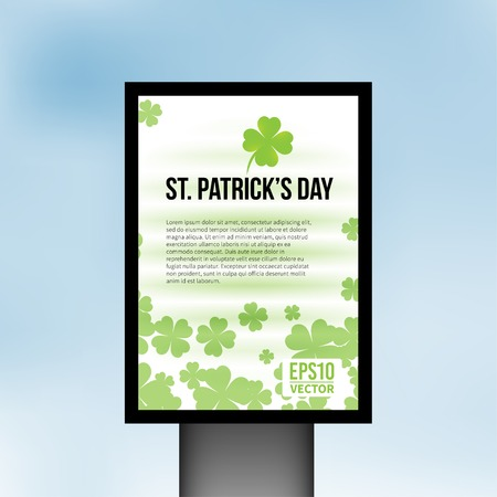 Saint Patrick Day background with clover leaves
