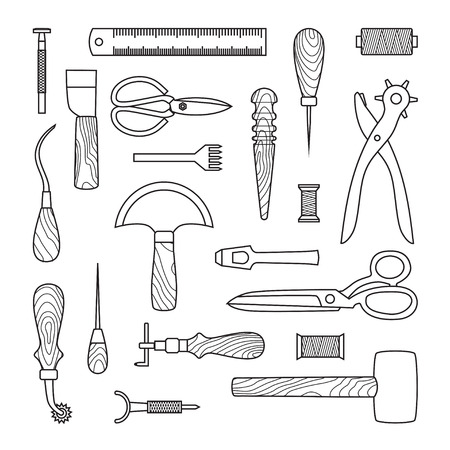 leather stitch: Gray Leather working tools on white background Illustration