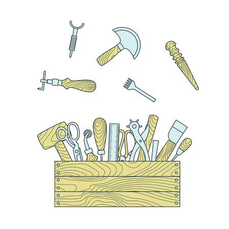 slicker: Leather working tools in toolbox vector illustration Illustration