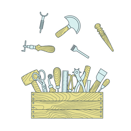 Leather working tools in toolbox vector illustration Illustration