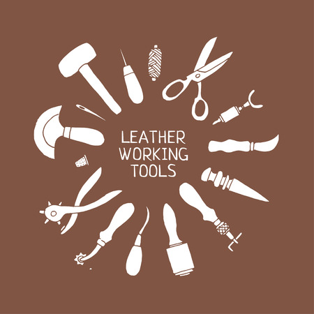 slicker: Set of hand drawn leather working tools