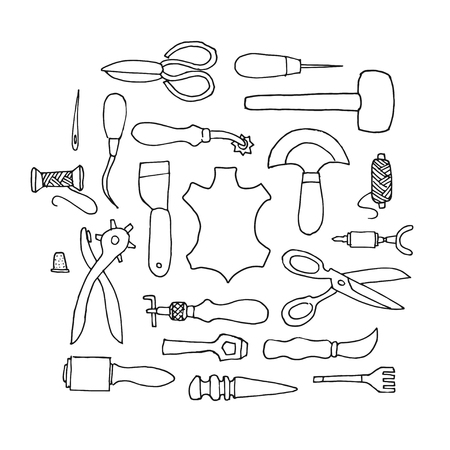 slicker: Hand drawn Leather working tools on white background Illustration