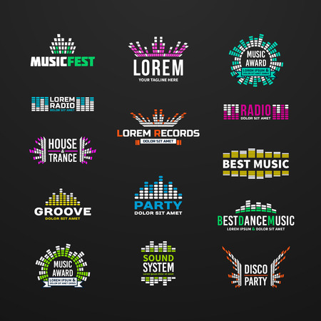 logo music: First music equalizer emblem elements set separated