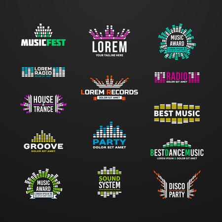 Léments de l'emblème de l'égaliseur premier ensemble de musique séparés Banque d'images - 37885948