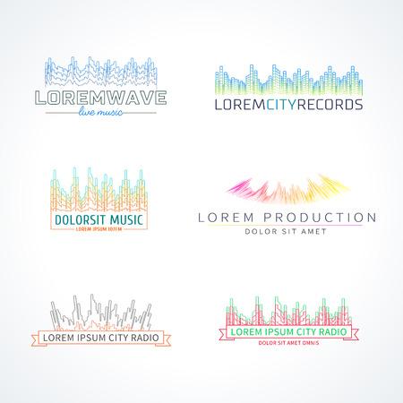 separated: Music radio wave emblem elements set separated Illustration
