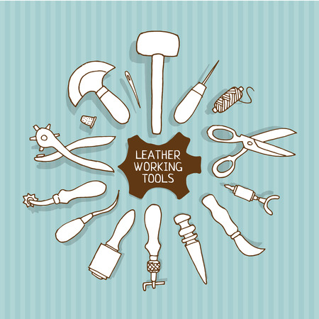 awl: Hand drawn Leather working tools on white background Illustration