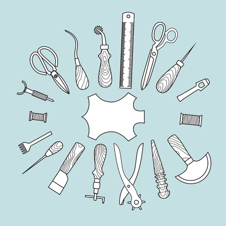 Set of vector leather working tools background