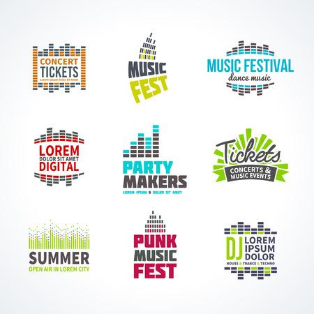 Second music equalizer emblem elements set separated Illustration