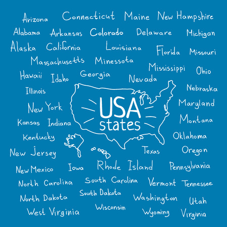 Hand drawn USA map with handwritten state names Illustration