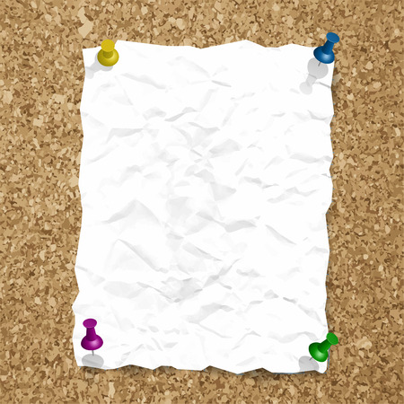 cork sheet: Vector crumpled paper sheet with pin on cork background