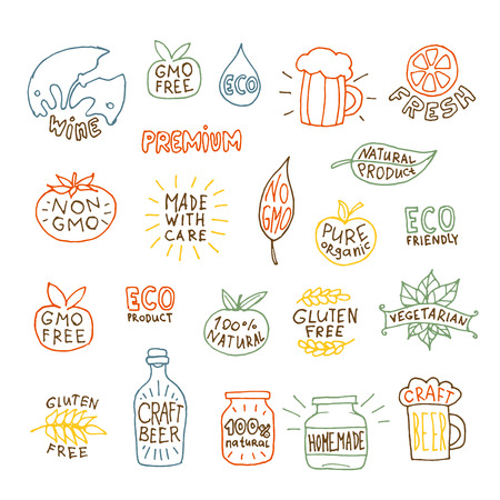 Set of hand drawn natural badges and labels isolated