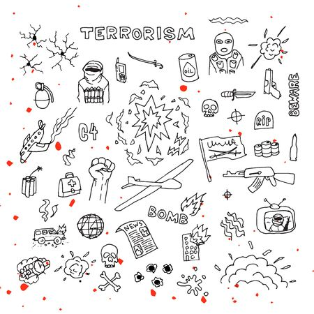 fire fighter: Hand Drawn terrorism doodles with blood splatters vector Illustration