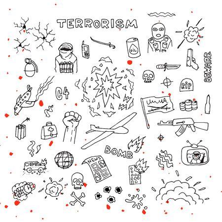 brandweer cartoon: Hand Getrokken terrorisme doodles met bloedspatten vector